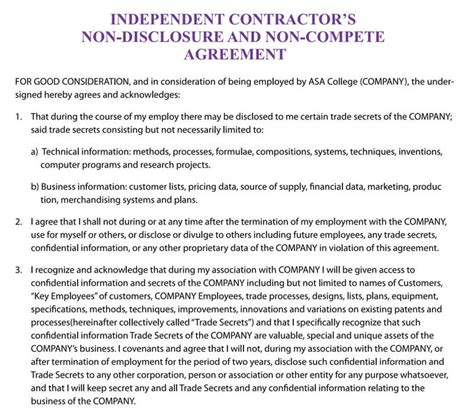 sample independent contractor  compete agreement word