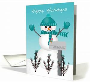christmas card for mail letter carrier snowman us mailbox With letter carrier christmas cards