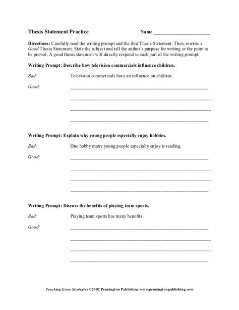 Identifying And Creating A Good Thesis Statement Worksheet B