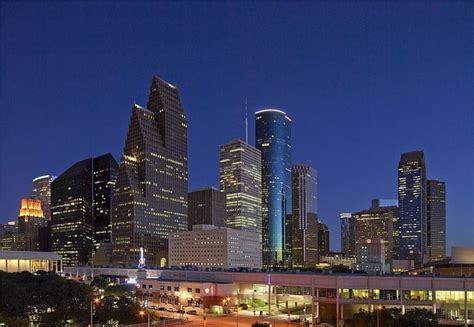 photo skyline houston dusk downtown  image
