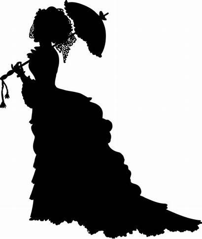 Silhouette Victorian Clipart Era Joint Monochrome Lady