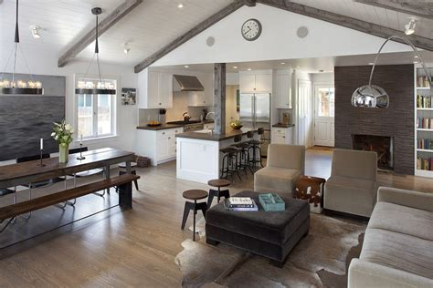 post and beam ceiling living room farmhouse with animal