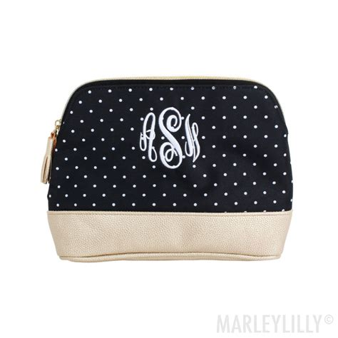 monogrammed cosmetic case  black dot cosmetic case monogram cosmetic bag