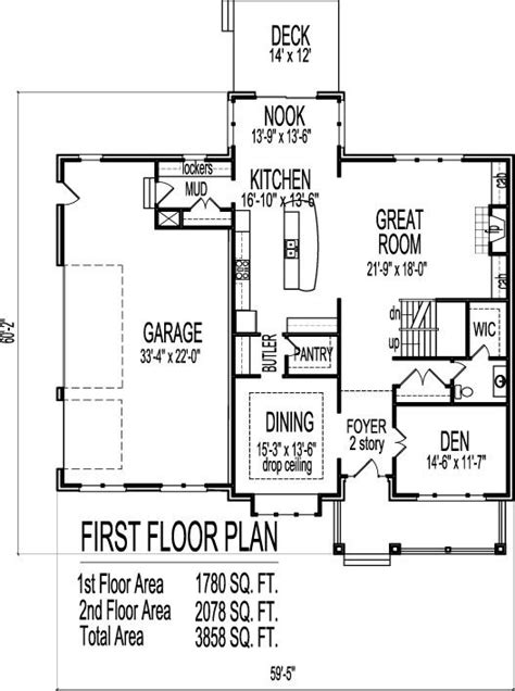2 Bedroom Open Floor Plans by 2 Story Architect Home 4 Bedroom Open Floor Plan Front