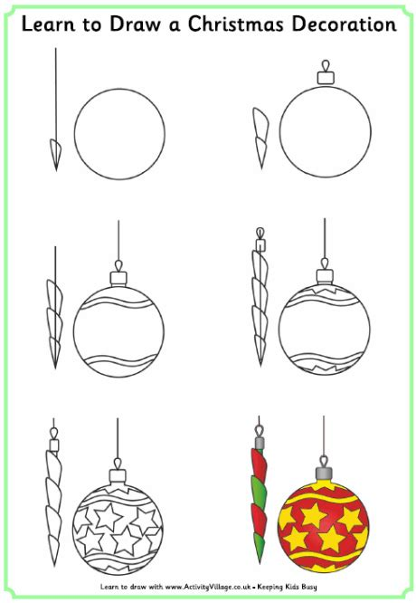 christmas pictures step by step learn to draw a decoration