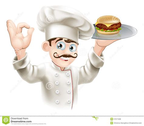 cuisine okay chef with burger royalty free stock photos image 27671208