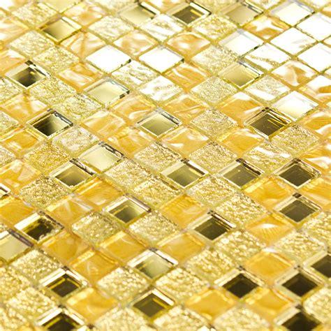 mosaique cuisine credence mosaïque pâte de verre luxe or dorée miroir indoor by
