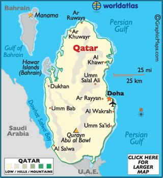 qatar map geography  qatar map  qatar worldatlascom