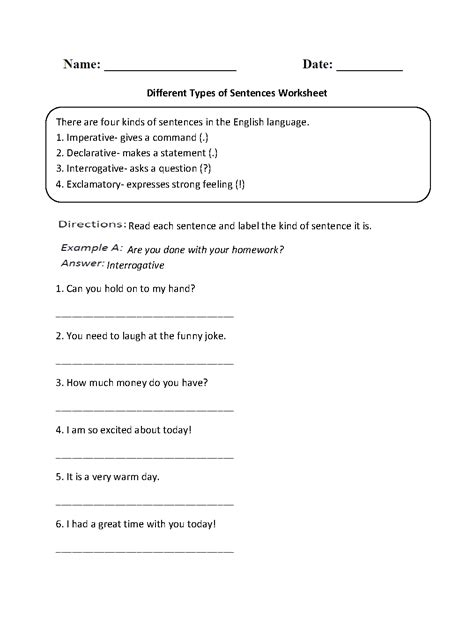 sentences worksheets types of sentences worksheets