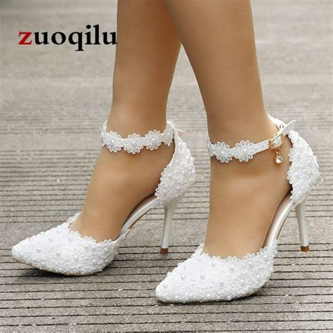 Wedding High Heels by 2018 High Heels Shoes Lace Ankle White
