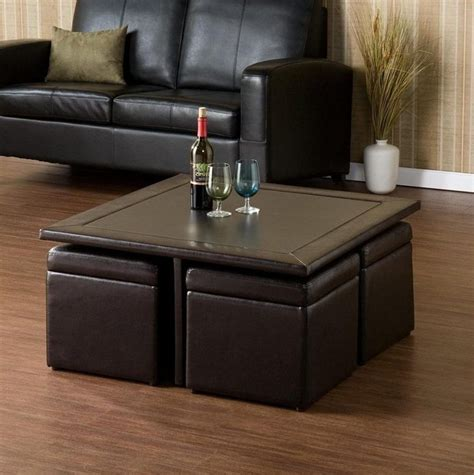 Rub this coffee table with ottomans underneath against the other. Coffee Table With Pull Out Ottomans   Roy Home Design