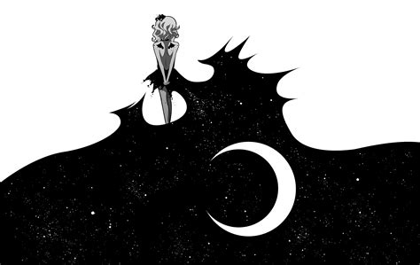 anime art moon girl black white wallpaper
