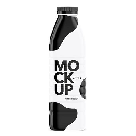 Simple edit with smart layers. Packreate » Milk Bottle Mockup - Glossy