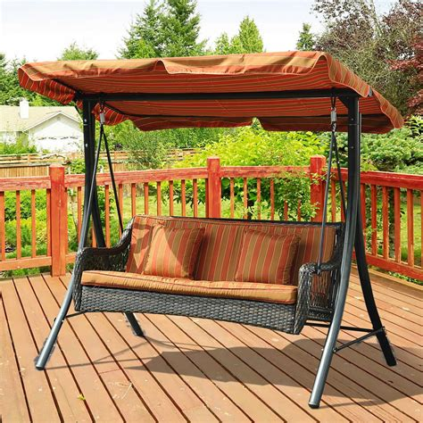 sunjoy planterra 3 seater patio swing
