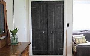 Bye bye fold doors shiplap inspired closet door makeover for Kitchen cabinets lowes with canvas mason jar wall art