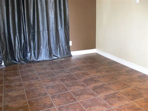 Brown Tile Allure Vinyl Plank Flooring Matched With White