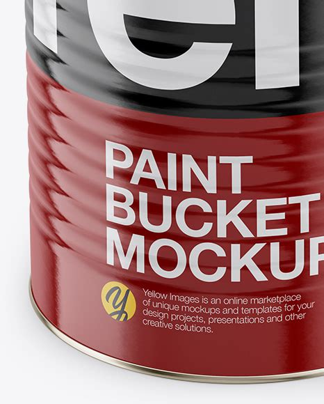 Two matte paint buckets mockup in bucket & pail mockups on yellow images object mockups. Opened Paint Bucket with Glossy Label Mockup - Front View ...