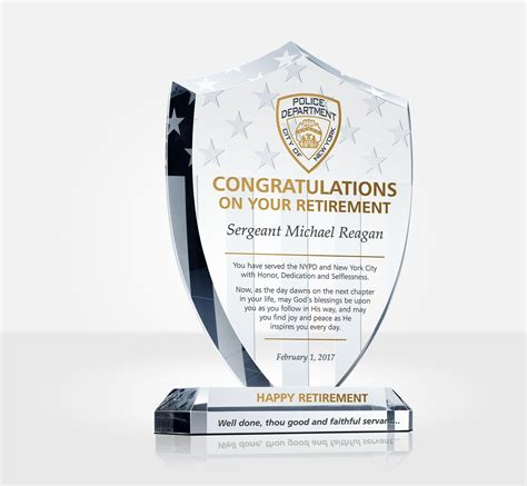 shield police retirement plaque diy awards