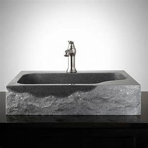 Rectangular, Granite, Vessel, Sink, With, Chiseled, Exterior