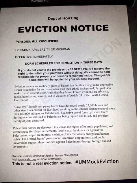 eviction notice students post eviction notices at u of michigan dorms draw attention to palestinian plight