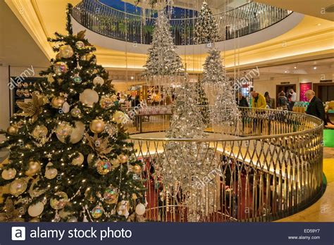 fortnum and mason tree decorations fortnum and green and silver trees around the stock photo royalty free