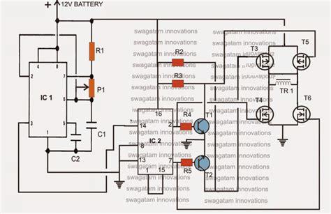h bridge modified sine wave inverter circuit h bridge inverter circuit using 4 n channel mosfets circuit projects