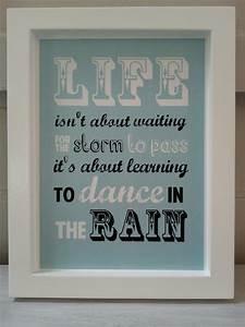 Medium size dance in the rain quote wall art felt