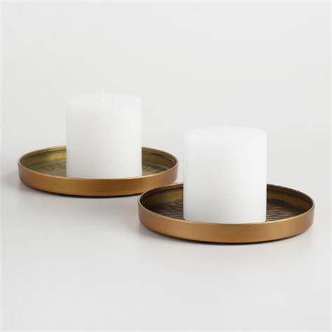 pillar candle plate brass sunburst pillar candle plate set of 2 world market 2259