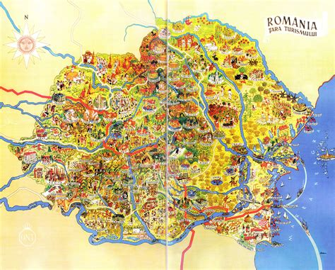 large detailed tourist illustrated map  romania