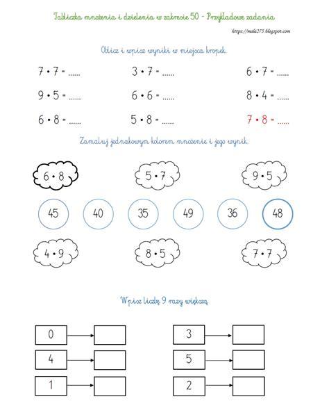 edukacyjny dla dzieci tabliczka mnożenia i dzielenia w zakresie 50 przykładowe zadania