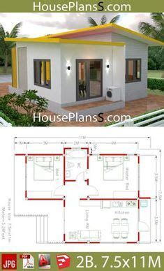 House Plans 7 5x11 with 2 Bedrooms Full plans ในปี 2020