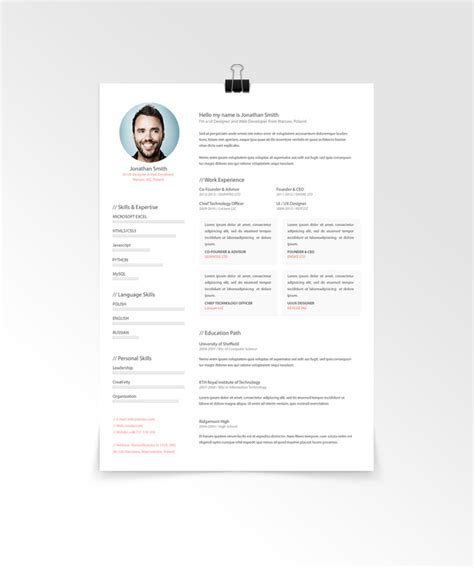 Great Resume Templates Psd by Simple Resume Template Vol 5