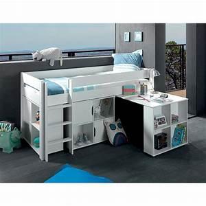 Lit En Hauteur Enfant : exploitez les volumes avec le lit mi hauteur genius blanc ~ Melissatoandfro.com Idées de Décoration