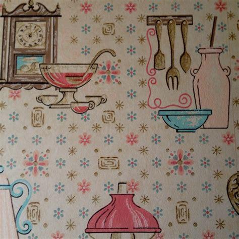 retro wallpaper kitchen vintage kitchen wallpaper oil lanterns and pink pots and pans wallpaper pinterest vintage