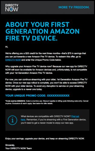 Lucky for you, we know how important getting. DirecTV Now is giving 1st-Gen Fire TV and Fire TV Stick ...