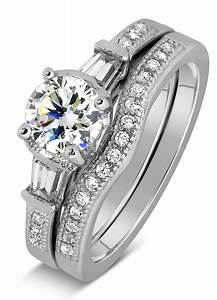 antique 1 carat round diamond wedding ring set for her in With white gold wedding ring sets for her