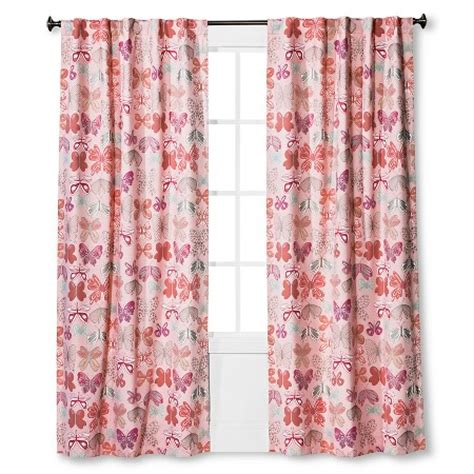 Target Pink Window Curtains by Twill Light Blocking Butterfly Print Curtain Panel Pink