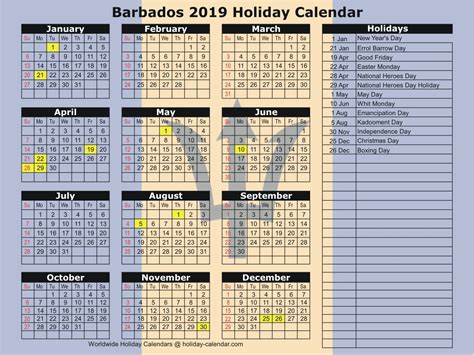 barbados holiday calendar