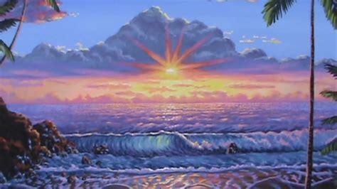 comment peindre le coucher du soleil sur la plage tropicale avec de l acrylique toile