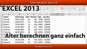 Excel Alter Berechnen Aus Geburtsdatum : alter berechnen in excel jahre monate tage stunden minuten youtube ~ Themetempest.com Abrechnung