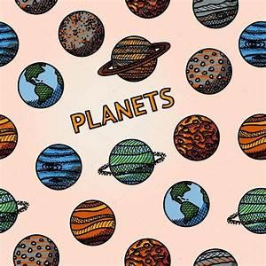 Padrão de mão desenhada planeta com - mercúrio, Vênus ...