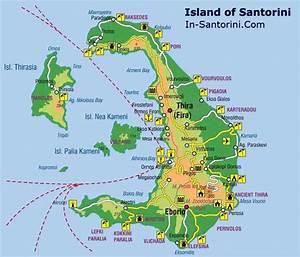 Map of Santorini: detailed Santorini island Map