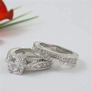 1 carat round cz cubic zirconia engagement ring set size 5 With 1 carat wedding ring set