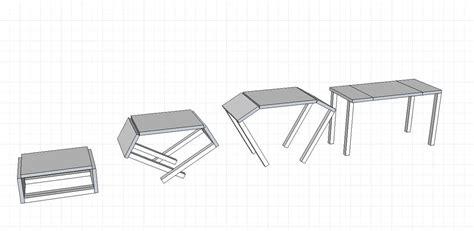 table basse pliable jet studio modulable convertible en hauteur thibout paul maquette design