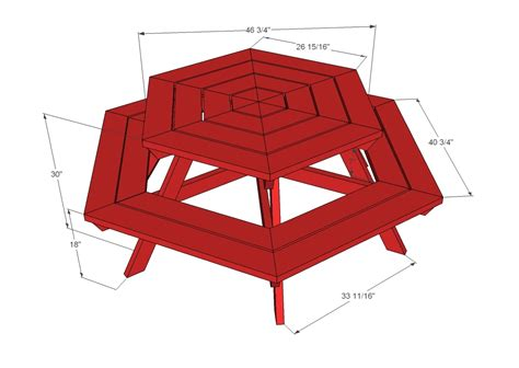 Picnic Bench Dimensions by White Hexagon Picnic Table Diy Projects
