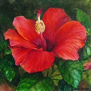 Karen Sioson Watercolors: Red Hibiscus… With Girl