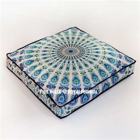 square pillow covers white blue mandala square floor pillow cover 36 quot inch