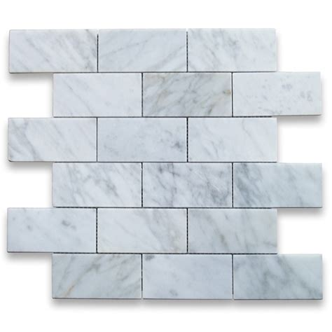 bianco carrara white 2x4 grand brick subway mosaic tile