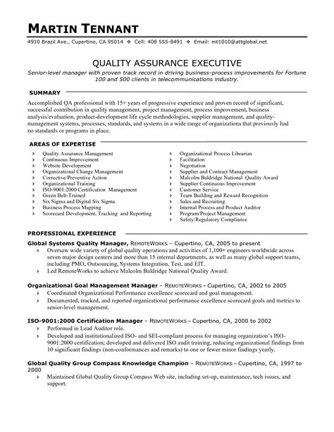 Quality Resume by Resume Templates Quality Assurance Manager