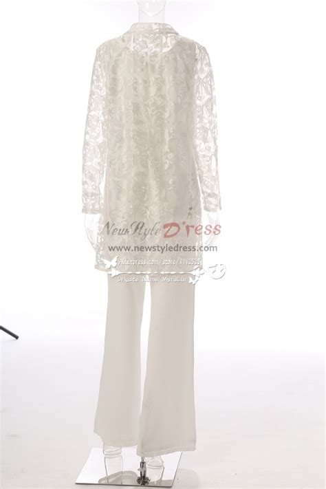 elegant ivory lace mother   bride pant suits